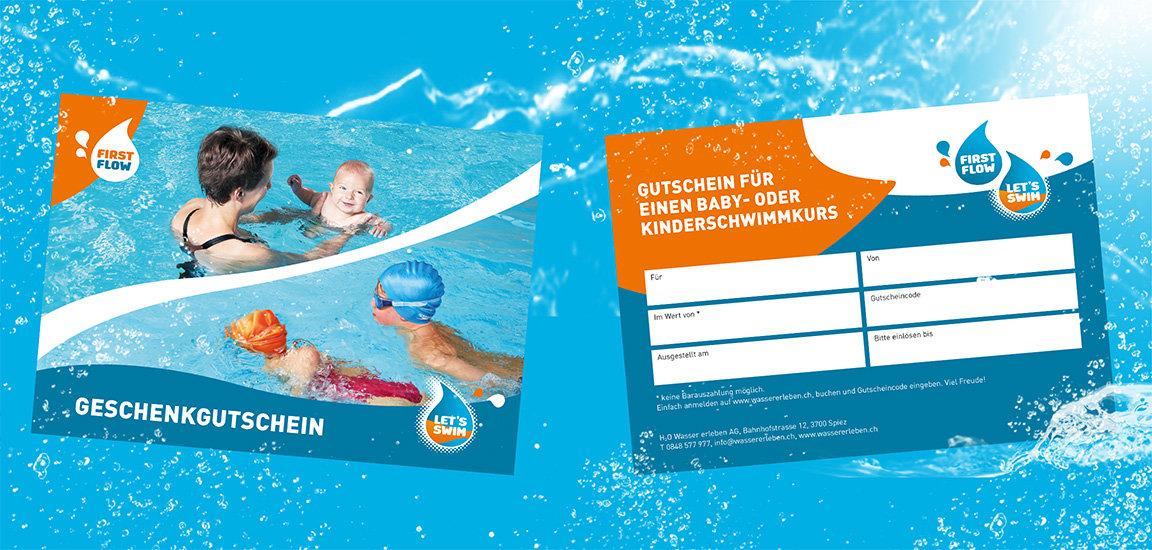 Gutschein Babyschwimmen. Gutschein Kinderschwimmen. Geschenkgutschein.